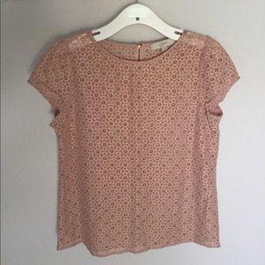 Ann Taylor LOFT Shimmer Pink Lace Blouse